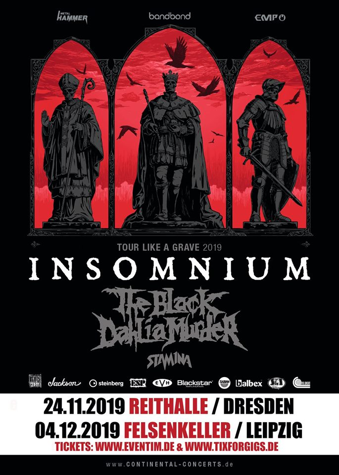 TOUR Like A GRAVE : Insomnium, the Black Dahlia Murder, Stam1na